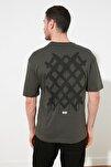Haki Erkek Geniş Kesim Sırt Baskılı T-Shirt TMNSS20TS1036