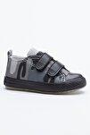 Siyah Yeşil Çocuk Spor Ayakkabı Cırtlı Tb997