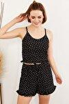 Kadın Puantiyeli Siyah Askılı Fırfırlı Pijama Takımı TKM-19000076