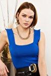 Kadın Saks Mavi Kalın Askılı Yazlık Triko Bluz BLZ-19000853