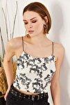 Kadın Zebra Ekru İp Askılı Kaşkorse Büstiyer BLZ-19000969