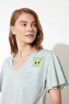 Yeşil Kaktüs Baskılı Örme Pijama Takımı THMSS20PT0172