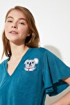 Petrol Koala Baskılı Örme Pijama Takımı THMSS20PT0172