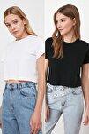 Siyah-Beyaz %100 Pamuk Bisiklet Yaka 2'li Paket Crop Örme  T-Shirt TWOSS20TS1480