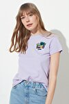Lila Nakışlı Basic Örme T-Shirt TWOSS19PB0013