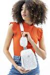 Kadın Beyaz Gümüş Vücut Çantası Bnt390