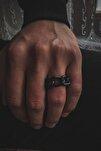 Siyah Zincir Figürlü Ayarlanabilir Gümüş Kaplama Erkek Yüzük