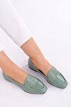 Kadın Yeşil Rugan Loafer Ayakkabı Munle