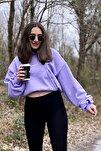 Kadın Lila Şardonlu Oversize Basic Kapüşonlu Cep Detaylı Sweatshirt