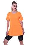 Kadın Turuncu Neon Yanları Yırtmaçlı Uzun T Shirt
