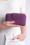 Kadın Mor Telefon Bölmeli Cüzdan Tenir