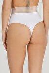 Kadın Beyaz Yüksek Bel Lazer Kesim Beli Dantel Tanga 3lü Paket Set