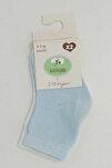 95675 2'Li Organik Bebek Çorabı Beyaz-Mavi 3-6 Ay