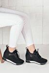 Kadın Siyah Süet Simli Yüksek Taban Gizli Topuk Spor Ayakkabı Ba20260