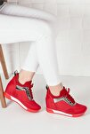 Kadın Kırmızı Simli Yüksek Taban Gizli Topuk Spor Ayakkabı Ba20260