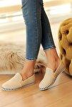Bej Deri Delikli Rahat Taban Casual Sneakers Ayakkabı Byndgur01
