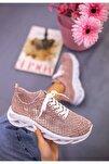 Kadın  Pudra Dantelli Bağcıklı Yumuşak Ortopedik Taban Sneaker