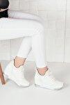 Kadın Beyaz Simli Yüksek Taban Gizli Topuk Spor Ayakkabı Ba20260