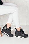 Kadın Siyah Deri Simli Yüksek Taban Gizli Topuk Spor Ayakkabı Ba20260