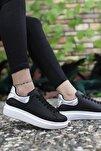Kadın  Siyah Beyaz Hologram Detaylı Sneaker 0012201