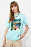 Mint Baskılı Boyfriend Örme T-Shirt TWOSS20TS0491