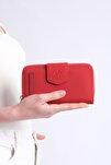 Kadın Kırmızı Telefon Bölmeli Cüzdan Tenir
