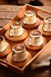 Ottoman 6 Kişilik Kahve Takımı Altın Desenli B0174