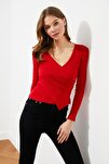 Kırmızı Kruvaze Örme Bluz TWOAW21BZ1274