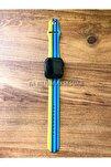 Apple Watch 1 2 3 4 5 6 Se 38 - 40 Mm Spor Kordon Silikon Kayış Gökkuşağı Mavi M/l