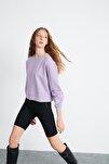 Elızabeth Kadın Mor Basic Oversize Sweatshirt