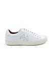 Erkek  Beyaz El Yapımı Deri Sneakers