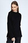 Kadın Siyah Uzun Kollu Bisiklet Yaka Basic Oversize T-shirt