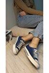 Kadın Lacivert Keten Casual Spor Ayakkabı