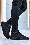 Erkek Siyah Çizgili Ultra Hafif Spor Ayakkabı