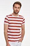 Erkek Kırmızı Desenli Bisiklet Yaka T-shirt