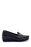 Kadın Siyah Dolgu Topuklu Loafer Ayakkabı