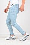 Erkek Jean Italyan Kesim Denım Kot Buz Mavi Pantolon Skınny Fit