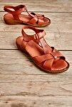 Hakiki Deri Taba Kadın Sandalet K05809926803