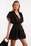 Siyah Fisto Detaylı Vual Plaj Elbisesi TBESS21EL1248