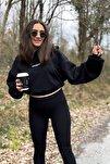 Kadın Siyah Şardonlu Oversize Basic Kapüşonlu Cep Detaylı Sweatshirt