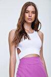 Kadın Beyaz Dekolteli Crop Kaşkorse Bluz ALC-X6077