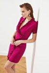 Mürdüm Fırfır Detaylı Elbise TPRSS21EL1389