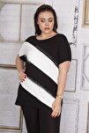 Kadın Siyah Taş Detaylı Düşük Kollu Viskon Bluz 65N22687