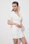 Ekru  Fırfır Detaylı Elbise TPRSS21EL1389