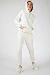 Kadın Beyaz Kapüşonlu Polarlı Eşofman Takımı  DD00762
