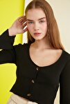 Siyah Düğmeli Fitilli Örme Bluz TWOAW21BZ0684