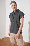 Antrasit Erkek Oversize Fit Kısa Kollu Kapüşonlu Sweatshirt TMNSS20SW0148