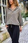 Kadın Haki Yıkamalı Keten Fileli Bağlamalı Kapüşonlu Bluz GK-RSD2021