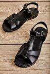 Hakiki Deri Siyah Kadın Sandalet K05809926803