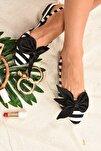 Kadın Siyah Beyaz Kumaş Babet H726809004